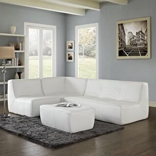 Warren White Bonded Leather Modern Modular Sectional Sofa