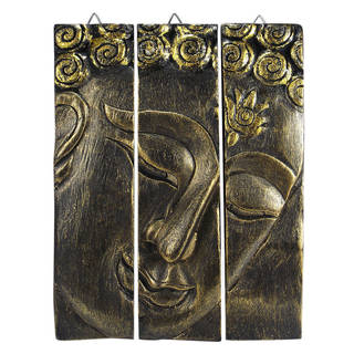 Golden Buddha Face Three Panel Hand-carved Handmade Wood Wall Art (Thailand)