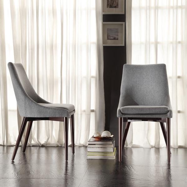 Inspire Q Sasha Mid Century Grey Fabric Upholstered Slope