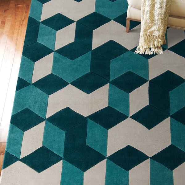 Hand Tufted Beecher Geometric Teal Area Rug 8 X 11