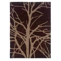 Linon Trio Collection Brown/ Beige Tree Silhouette Modern Area Rug - 5' x 7'