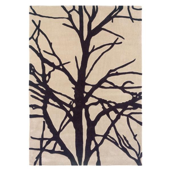 Linon Trio Collection Black/ Grey Tree Silhouette Modern Area Rug - 8' x 10'