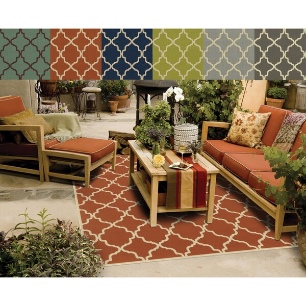Outdoor Rug 7 X 10: Indoor/ Outdoor Lattice Rug (7'10 X 10'10)