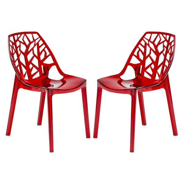 Modern Flora Transparent Red Plastic Dining Chair Set Of