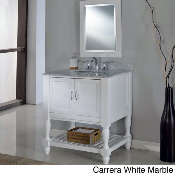 Direct Vanity 32-inch Pearl White Mission Turnleg Spa ...