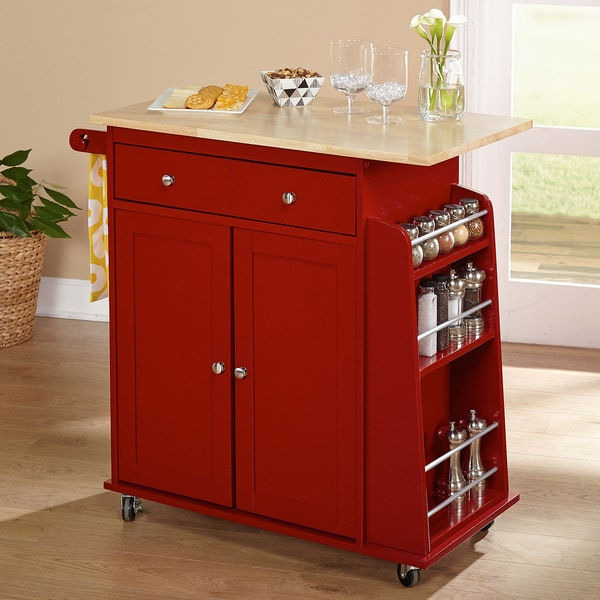 Kitchen Cart With Wood Top In Black By Altra