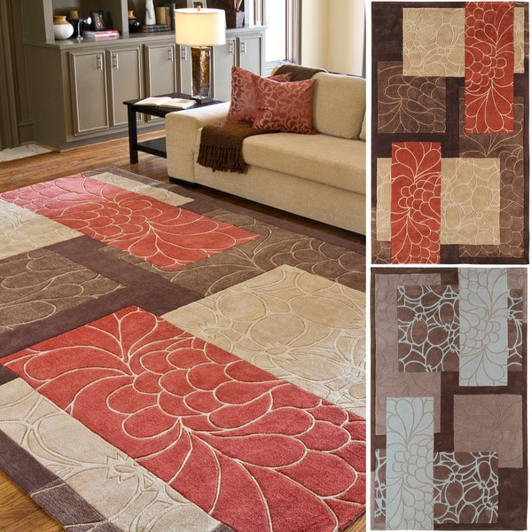 Hand-Tufted Floral Contemporary Area Rug-(5' X 8