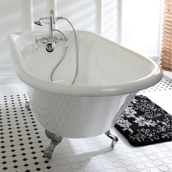 Classic Roll Top 60 Inch Cast Iron Clawfoot Tub With Tub