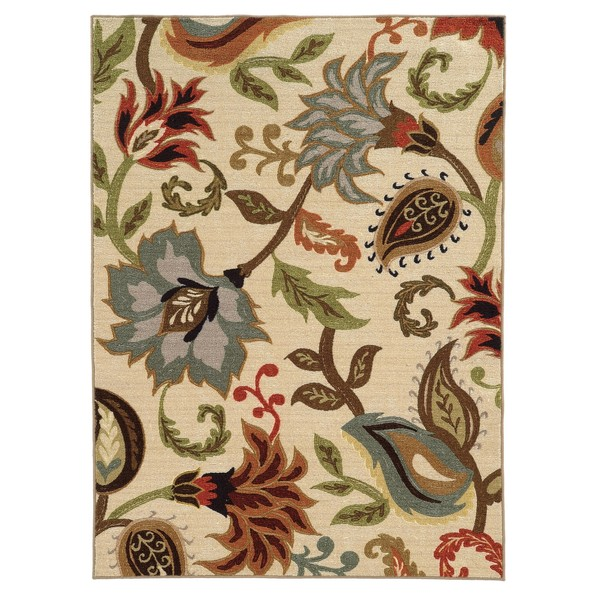 Loop Pile Over Scale Floral Ivory Multi Nylon Rug 5 3 X
