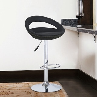 Adeco Adjustable Leather And Channel Barstool With