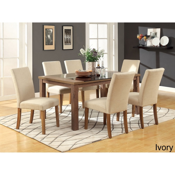 Furniture Of America Dubelle 7 Piece Formal Dining Set: Furniture Of America Sundrey Transitional Light Oak 7
