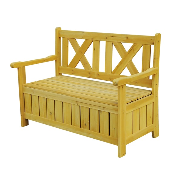 Storage Bench Seat Outdoor: Wood Outdoor Bench Patio Storage Bench Seat Porch Bench