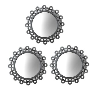 elements round silver cog mirrors set of 3 overstock shopping great deals on elements mirrors. Black Bedroom Furniture Sets. Home Design Ideas