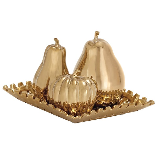 Casa Cortes Gold Ceramic Fruit Centerpiece Plate