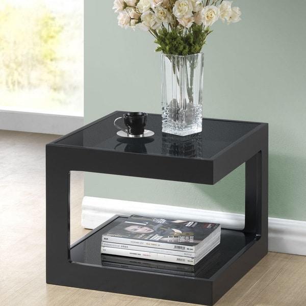 Baxton Studio Clara Black Modern End Table With 2 Glass