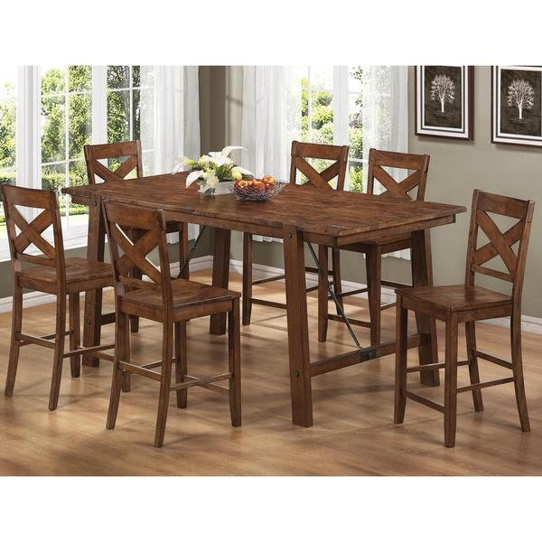 Pecan Wood Furniture Dining Room: Vintage Rustic Pecan Finish Wood Plank 7-piece Counter