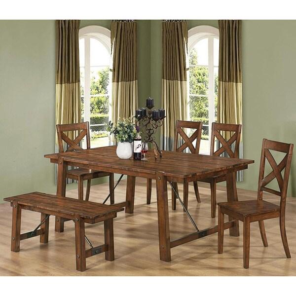 Rustic Mission Santa Cruz Solid Wood Dining Room Set For 4: Vintage Rustic Pecan Wood Plank Dining Set