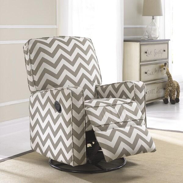 Crawford Taupe And Cream Fabric Modern Nursery Swivel