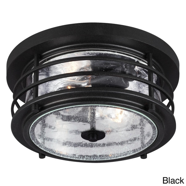 Sauganash 2 Light Outdoor Ceiling Flush Mount With Clear