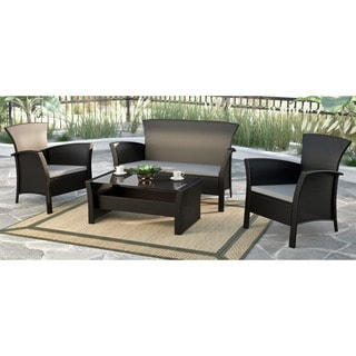 Cosco Outdoor Malmo 4 Piece Resin Wicker Conversation Set