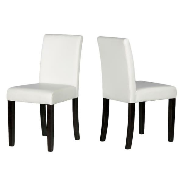 Cortesi Home Lexa Dining Chair In White Leather Like Vinyl