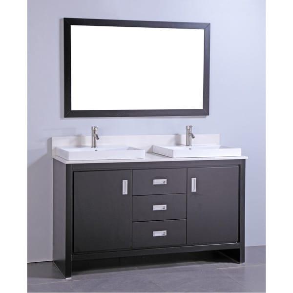 Articial Stone Top 60-inch Double Sink Bathroom Vanity ...