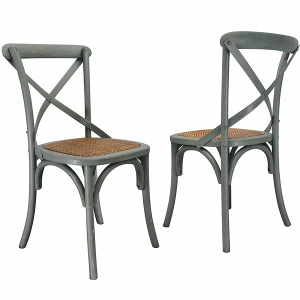 Set Of 2 Antique Wooden Dining Chairs Padded Seat Rattan: Elm Wood Rattan Antique Bistro Dining Chair (Set Of 2