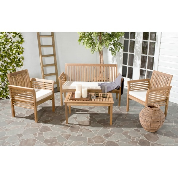 Safavieh Carson Acacia Wood 4-piece Outdoor Furniture Set