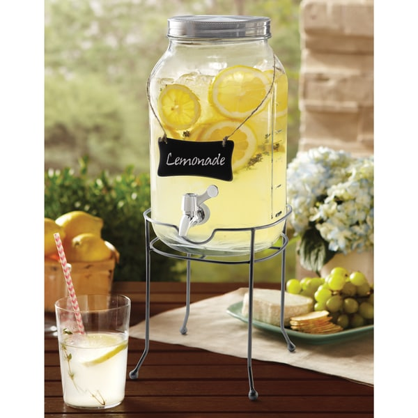 Del Sol Beverage Dispenser Order Home Collection Glass Mason Jar Drink Dispenser with ...