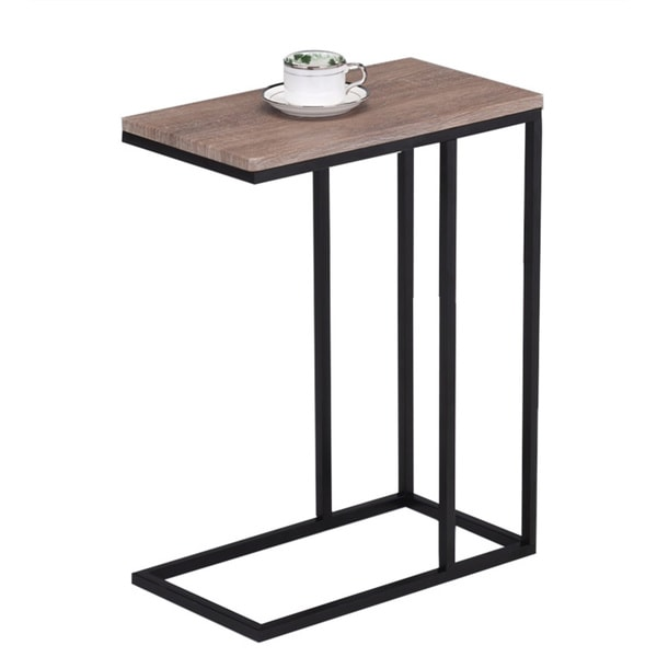 reclaimed wood look finish black metal snack table. Black Bedroom Furniture Sets. Home Design Ideas
