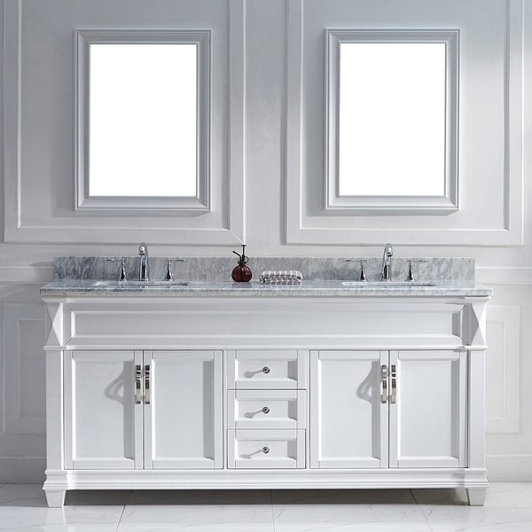 Virtu USA Victoria 72-inch White Double Sink Vanity Set ...