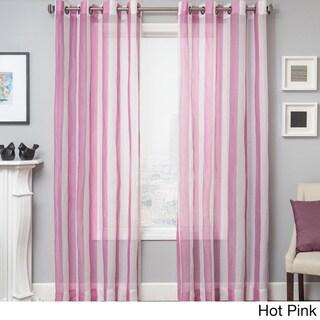 Milbrey Stripe Grommet Top Sheer Curtain Panel Overstock