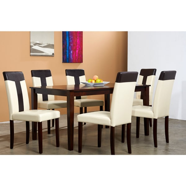 Overstock Dining Set: Cream/ Brown 7-piece Dining Set