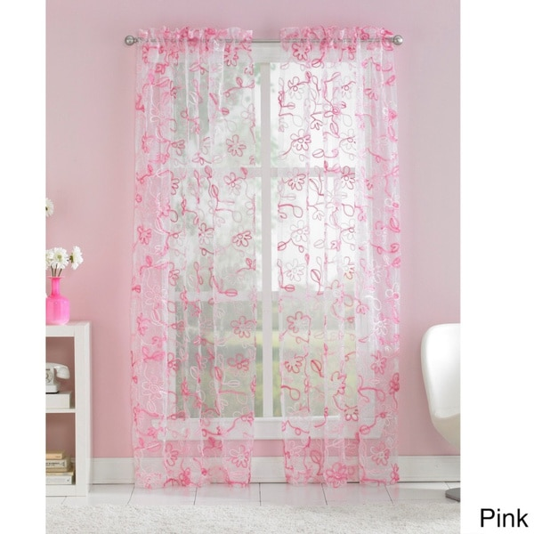 Ribbon Trim Floral Sheer Curtain Panel Pair 16238279