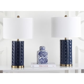 Safavieh Indoor 1 Light Louvre Royal Blue Table Lamp