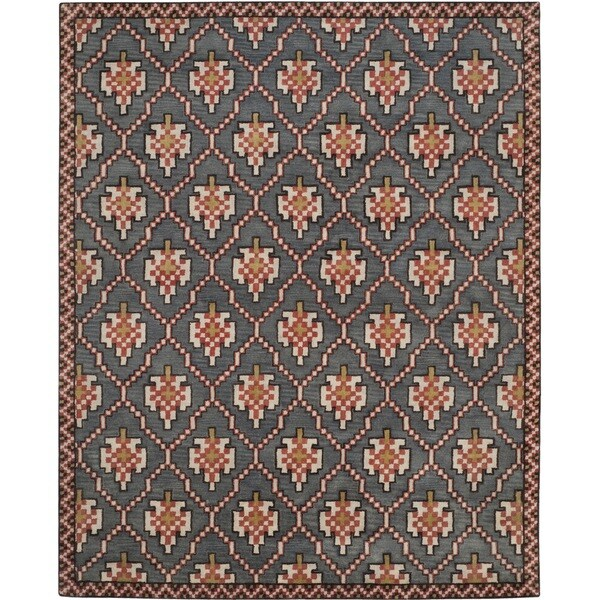 Safavieh Pl537b Persian Legend Wool Hand Tufted Navy Rust: Isaac Mizrahi By Safavieh English Trellis Navy/ Rust Wool