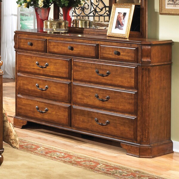 Signature Design By Ashley Wyatt Cherry Wood 9 Drawer Dresser 16241369 Overstock Com