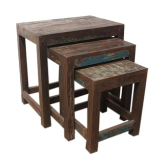 Set Of 3 Reclaimed Wood Nesting Tables India Overstock