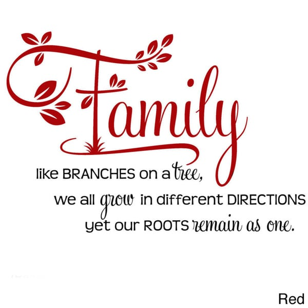 """Caa Home Insurance Quote: 'Family, Like Branches On A Tree..."""" Two-tone Vinyl Wall"""