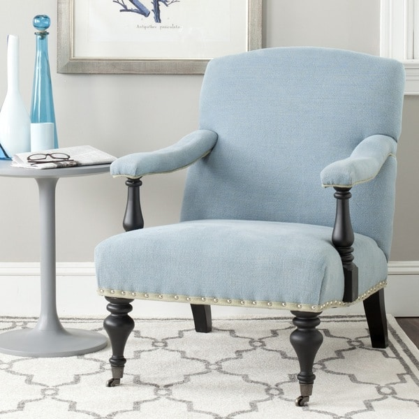 Safavieh Devona Light Blue Linen Arm Chair - 16245809 ...