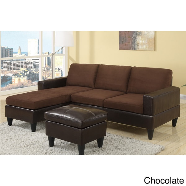 Dunkirk Sectional Couch In 2 Tone Microfiber Amp Faux