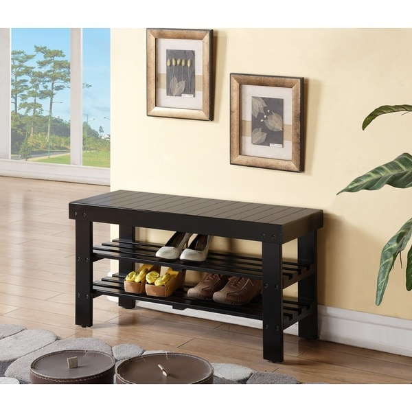 Black Solid Wood Shoe Shelf Bench 16248197 Overstock