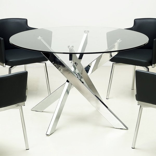 overstock dining room tables | Somette Round Glass Top Chrome Dining Table - 16249866 ...