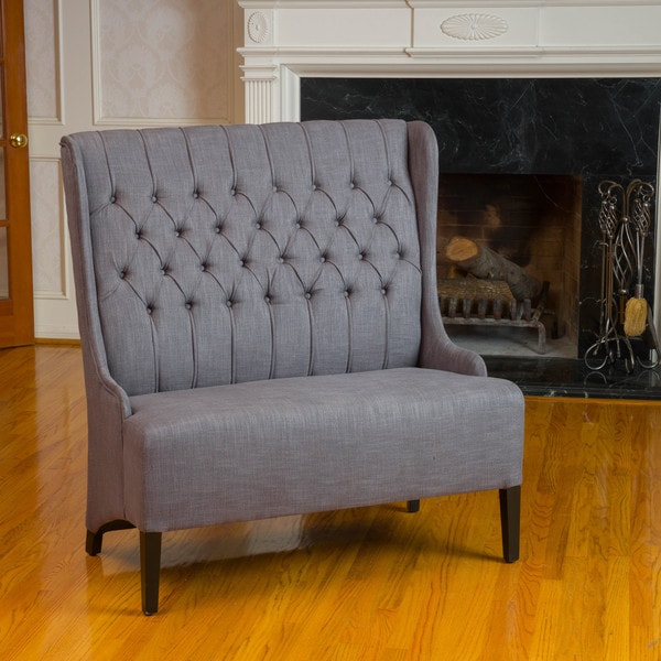 Baxton Studio Madelyn Beige Linen Modern Banquette Bench: Christopher Knight Home Heidi Button Tufted Charcoal