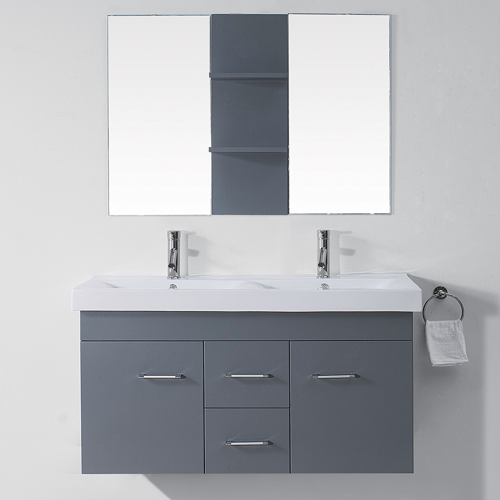 Bathroom Vanity 48 Inch Double Sink: Virtu USA Opal 48-inch Grey Double Sink Vanity Set