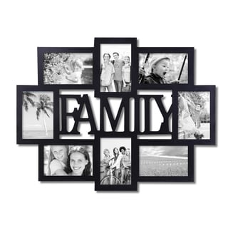 Adeco Decorative Black Wood Family Wall Hanging Collage