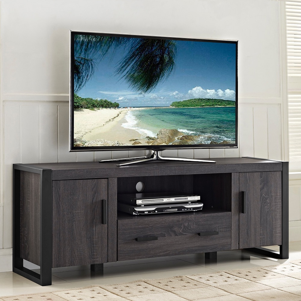 60 inch charcoal grey tv stand overstock shopping great deals on entertainment centers. Black Bedroom Furniture Sets. Home Design Ideas
