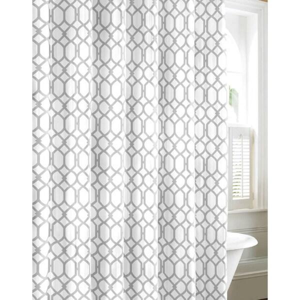 Tommy Bahama Shoretown Trellis Gray Cotton Shower Curtain