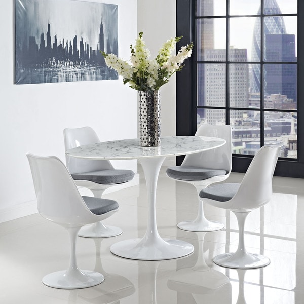 Lippa Marble 60 Quot White Oval Shaped Dining Table 16271156