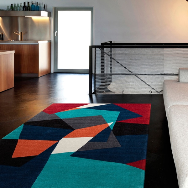 Hand Tufted Abstract Geometric Contemporary Area Rug 5 X